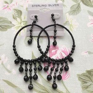3/$15 SALE - Black Beaded Dangle Hoop Earrings